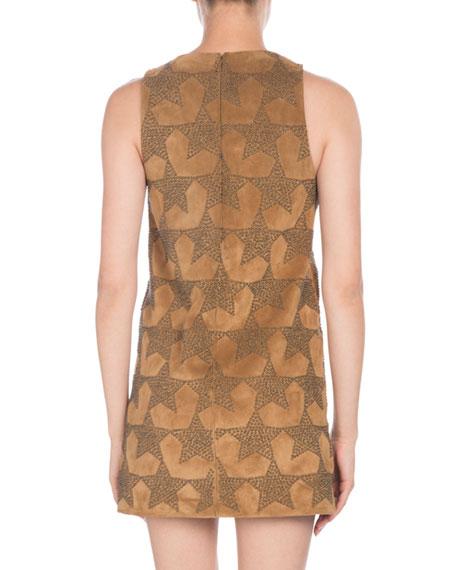 Sleeveless Star-Stuffed Calfskin Suede A-Line Mini Dress