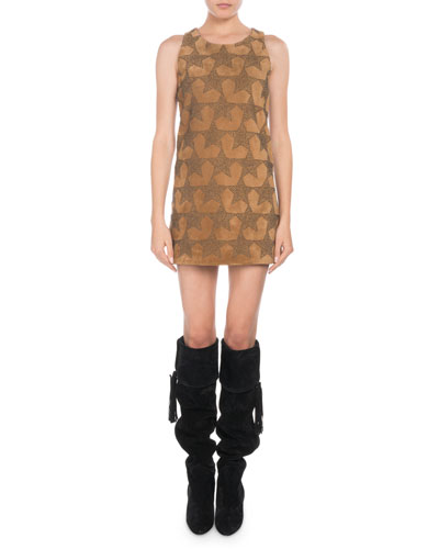 Sleeveless Star-Stuffed Calfskin Suede A-Line Mini Dress