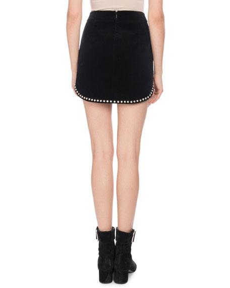 Velvet Mini Skirt with Stud Trim