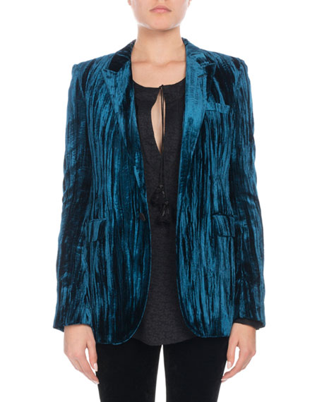 Textured Velvet Blazer - Blue Size 36 Fr in Cobalt Blue