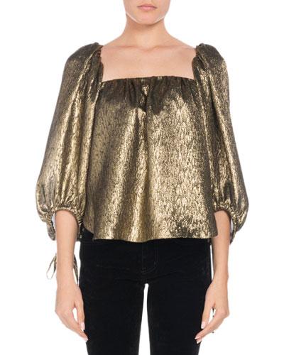 Square-Neck Golden-Jacquard Metallic-Silk Blouse