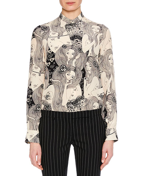 Eve-Print Long-Sleeve Crepe de Chine  Blouse