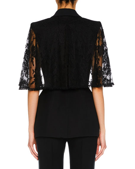 Lace Capelet Satin-Lapel Single-Breasted Wool-Silk Blazer