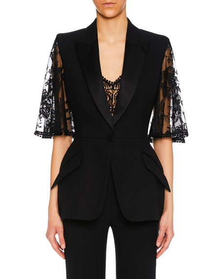 Lace Capelet Satin-Lapel Single-Breasted Wool-Silk Blazer in Black