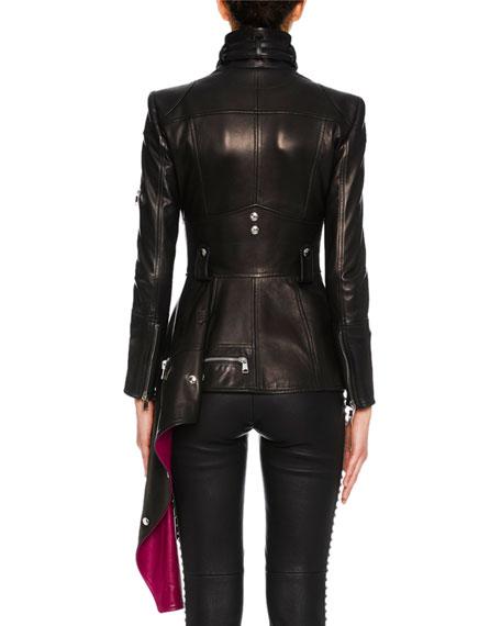 Zip-Front Leather Biker Jacket w/ Contrast Asymmetric Hem