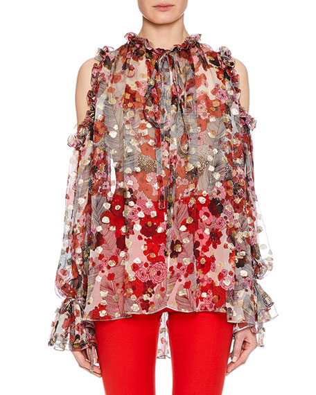 Tie-Neck Cold-Shoulder Feather-Flower Fil Coupe Tunic W/ Ruffled Trim, White Pattern