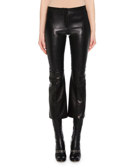 Kickback Stretch-Leather Cropped Pants, Black
