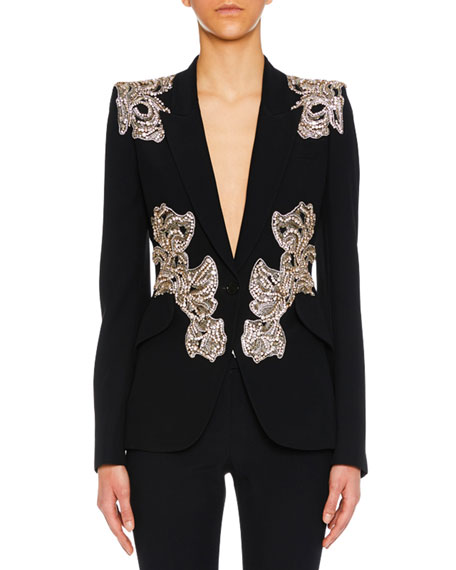 ORCHID-EMBELLISHED ONE-BUTTON CREPE BLAZER