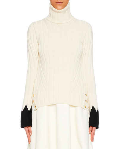 Turtleneck Long-Sleeve Contrast-Cuff Wool Knit Sweater