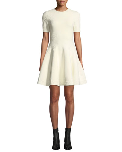 Short-Sleeve Fit-and-Flare Floral-Embossed Short Dress