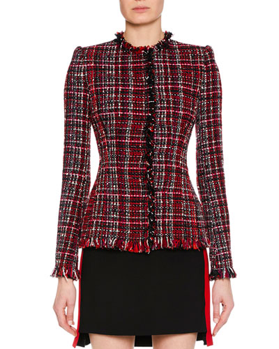 Jewel-Neck Artisan-Tweed Fitted Classic Jacket