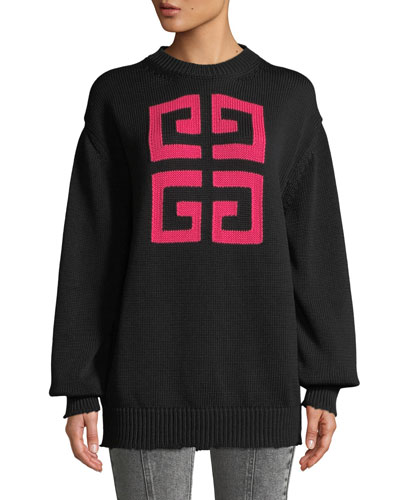 4-G Logo Long-Sleeve Cotton Sweater