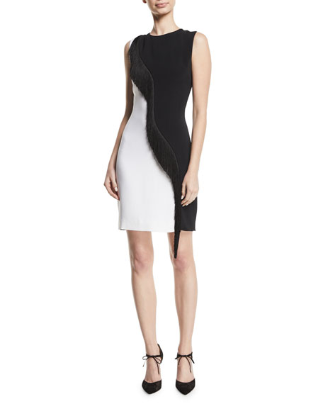 CUSHNIE Two-Tone Cady Sleeveless Mini Dress w/ Asymmetric