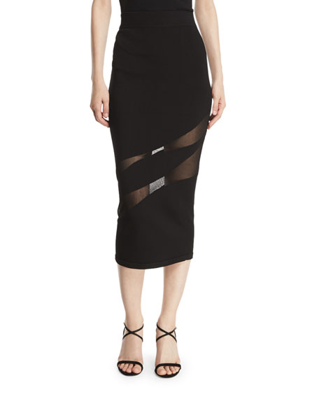 Knit Fitted Pencil Skirt W/ Sheer Panels in Black