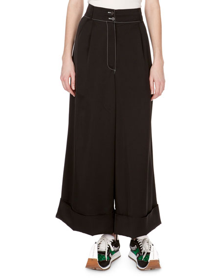High-Waist Oversized Flare Cuffed Pants in Black