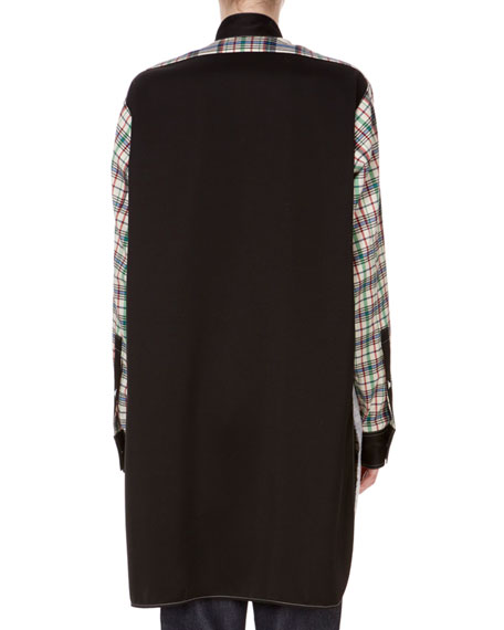 Button-Front Long-Sleeve Mixed-Media Asymmetric Shirt