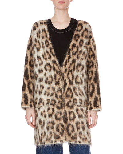 Button-Front Leopard-Print Mohair Oversized Cardigan