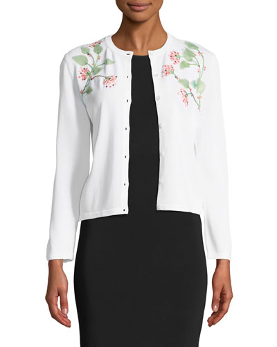 3/4-Sleeve Button-Down Cardigan w/ Floral Leaf Embroidery Quick Look. Carolina  Herrera