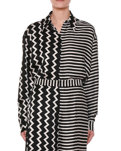 Button-Down Zigzag & Striped Mixed-Print Silk Shirt