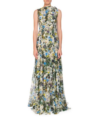 Kassidy Meadow-Print Silk Tie-Shoulder Gown
