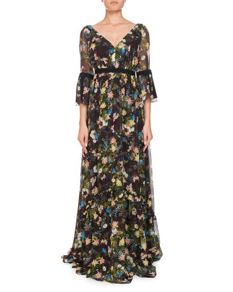 Petunia Floral Meadow Silk Maxi Dress, Black Pattern
