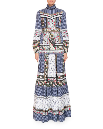 Cassandra Patchwork Long-Sleeve Prairie Dress