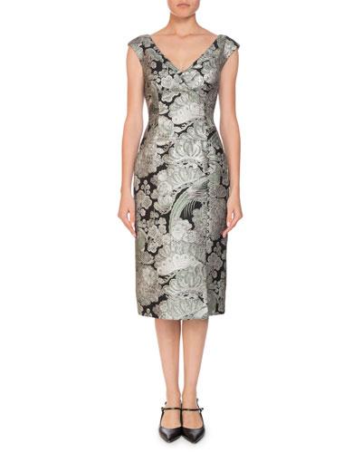 Jyoti Off-the-Shoulder V-Neck Jacquard Cocktail Dress