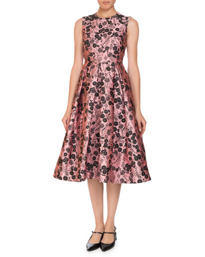 Indra Fit-and-Flare Floral Jacquard Sleeveless Dress
