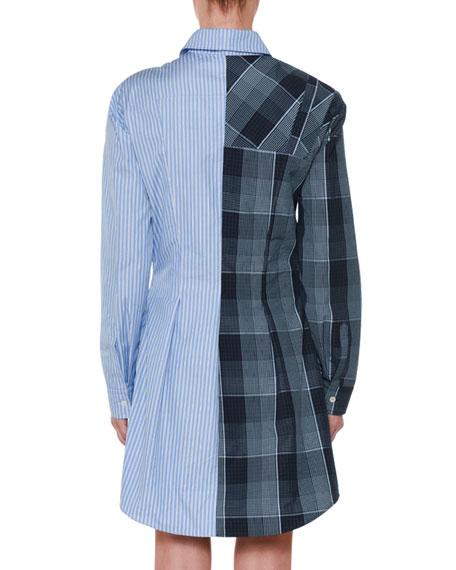 Asymmetric-Zip Plaid & Striped Mixed-Print Oxford Flippy Dress