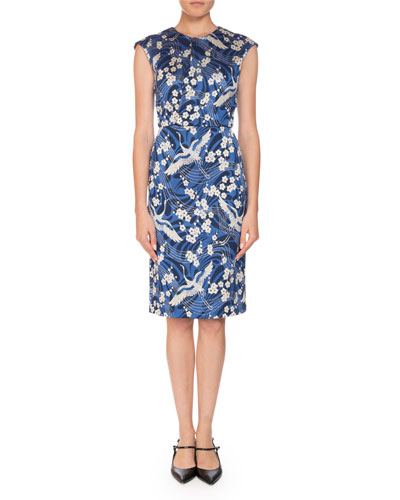 Analena Floral-Print Swan Jacquard Pencil Dress