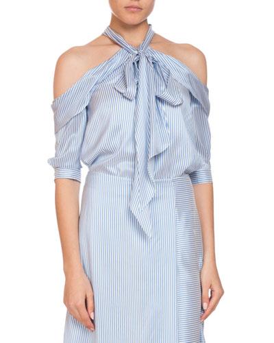 Elin Striped Silk Cold-Shoulder Tie-Neck Top