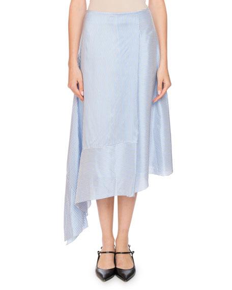 Erdem Zora Asymmetric A-Line Striped Silk Midi Skirt