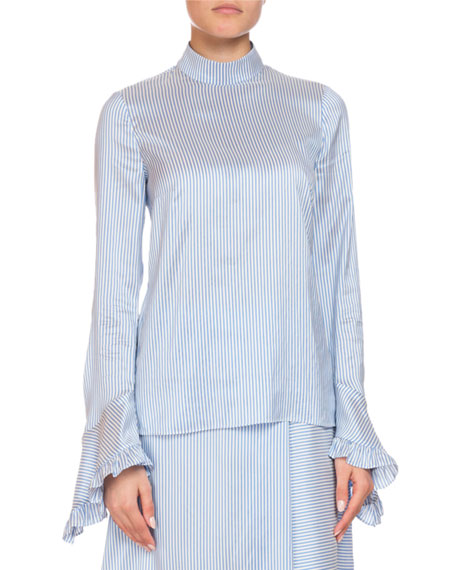 Lindsey Striped Mock-Neck Ruffle-Sleeve Top