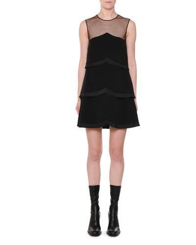 Sleeveless Sheer-Yoke Tiered Pleated Mini Dress