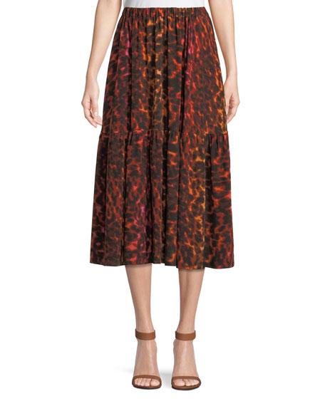 Neon Animal-Print Silk Full A-Line Midi Skirt, Multi Pattern