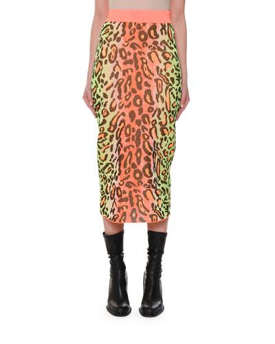Neon Animal-Print Fitted Pull-On Midi Skirt