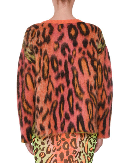 Animal-Print Oversized Neon Mohair Pullover Sweater