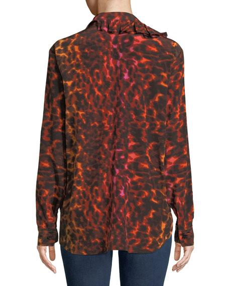 Ruffle-Placket Neon Animal-Print Silk Blouse