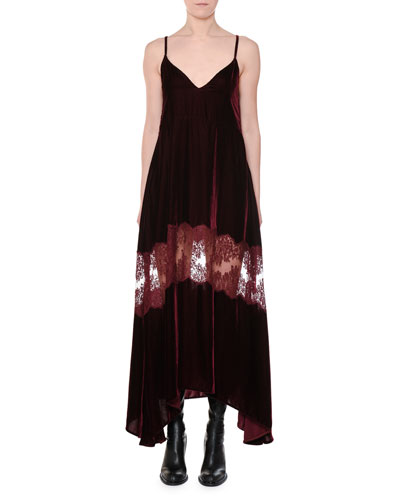 V-Neck Cami-Strap Velvet Evening Dress w/ Lace Inset