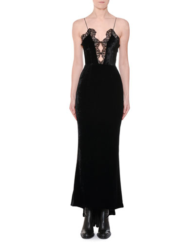 Cami-Strap Lace-Front Velvet Evening Gown with Fishtail Hem