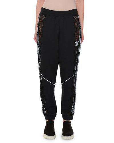 Lace-Inset Jogger Pants