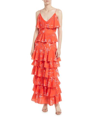 V-Neck Sleeveless Ruffled Firefly Print Ankle-Length Dress