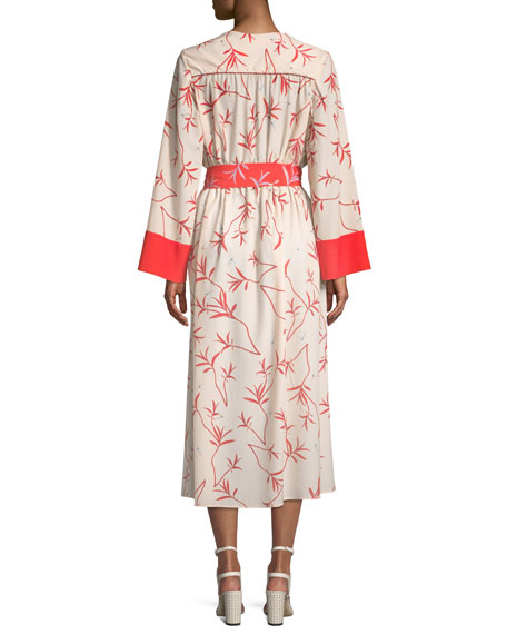 Long-Sleeve Firefly Leaf Wrap Dress