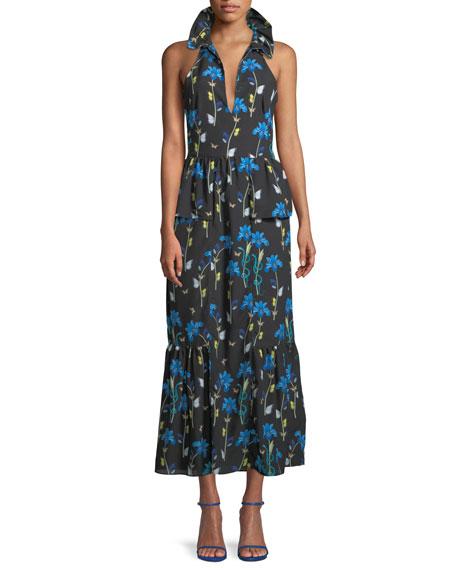 Sleeveless Halter Keyhole Butterfly & Iris Print Maxi Dress