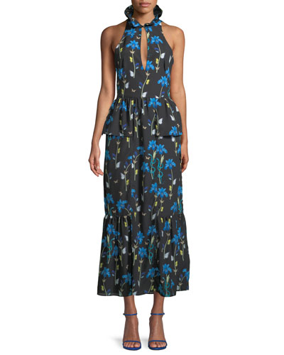 Sleeveless Halter Keyhole Butterfly & Iris Print Maxi Dress