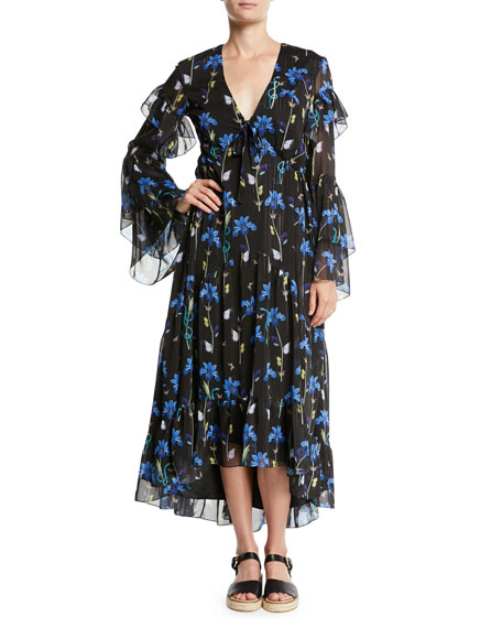 V-Neck Long-Sleeve Butterfly Iris Print High-Low Long Dress