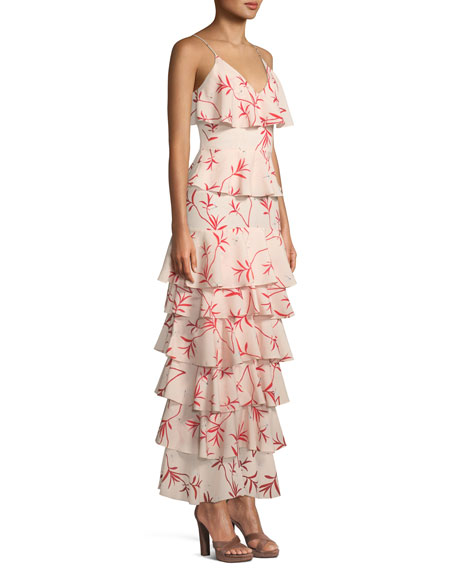 V-Neck Sleeveless Firefly-Print Tiered Ruffle Gown