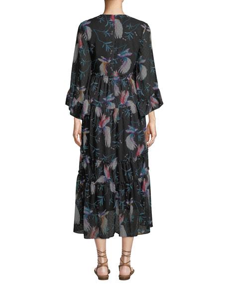 V-Neck 3/4-Sleeve Bird-Print Tiered Midi Dress