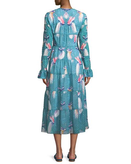 Long-Sleeve Crewneck A-Line Bird-Print Long Peasant Dress