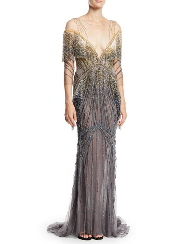 Beaded-Embellished Illusion  Column Evening Gown